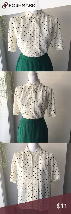 Vintage Cream Polka Dot Top So lovely! Perfect wardrobe essential!!  Fits Small-Large  Oversized fit on small, but superrrr cute Tops Blouses