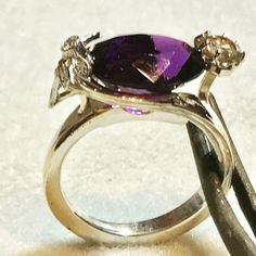 Dragonfly Amethyst/diamond, 14k WG ring. This fabulous custom made, one of a kind, designer piece will be a sneak peek coming soon on www.bostondesignerjewelryimports.com