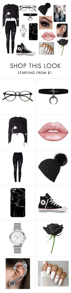 """Gothic Nerd"" by lilyscarrlettx on Polyvore featuring adidas Originals, Lime Crime, Black, Converse and beanies"