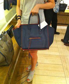 Céline small phantom luggage in navy/orange (Barney's Boston)