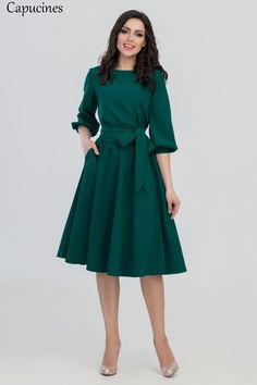 FLAVOR 2018 Women Fashion vintage Dress Green O-Neck Elegant A line dress puff… S.FLAVOR 2018 Women Fashion vintage Dress Green O-Neck Elegant A line dress puff sleeve vestidos Party autumn dress no pocket – PasangSurut Casual Dresses For Women, Cute Dresses, Vintage Dresses, Beautiful Dresses, Clothes For Women, Maxi Dresses, A Line Dresses, Dress Casual, Woman Dresses