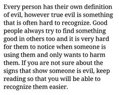 Definition Of Evil, Evil Person, When Someone, Good People, Being Used, Definitions, Math Equations, Native Americans, Icons