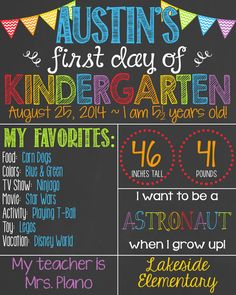 Chevron Rainbow First Day of School Chalkboard Poster Boy 1st Day of School Chalk Board Custom Printable // Primary Colors // Boy or Girl