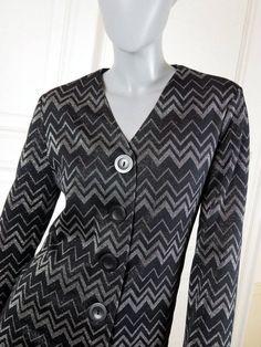 1980s Black Blazer, Finnish Vintage Black Silver Chevron Zigzag Pattern Jacket, Cocktail Blazer, Elegant Smart Blazer: Size 12 US, 16 UK by YouLookAmazing on Etsy