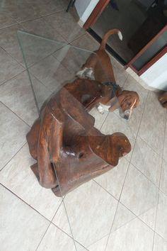 mesa de centro de tronco de madeira maciça