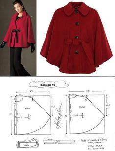 Poncho - created on Coat Patterns, Dress Sewing Patterns, Blouse Patterns, Clothing Patterns, Cape Pattern, Jacket Pattern, Sewing Clothes, Diy Clothes, Cape Jacket