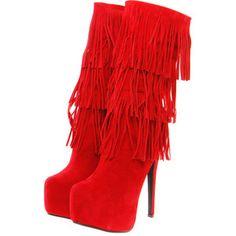 Yasmina #Red Tassle Layered Platform #Boot