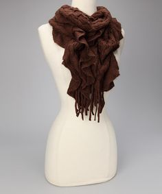 Take a look at this Brown Ruffle Scarf by Finish the Look: Accessories on #zulily today!
