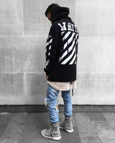 ** Streetwear daily - - - Click this picture to check out our clothing label ** Men Looks, Mode Outfits, Fashion Outfits, Womens Fashion, Hypebeast Outfit, Skateboard, Mode Hip Hop, White Jeans Outfit, Ripped Jeans Men