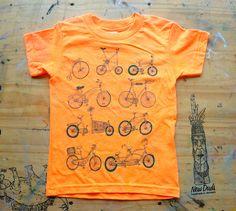 Toddler and Kids Tshirt  Any Bike Will Do  Neon Orange  by NewDuds, $18.00