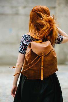 Leather backpack Women's backpack Ladies by KrukGarageAtelier