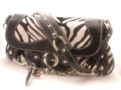 Womens Guess Zebra Purse Hobo Black White Handbag Shoulder Tote