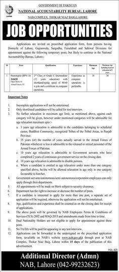Nab Jobs For Steno 2021 In Lahore   Murtazaweb.com