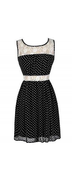 I Love Lucy Black and White Polka Dot Lace Dress  www.lilyboutique.com