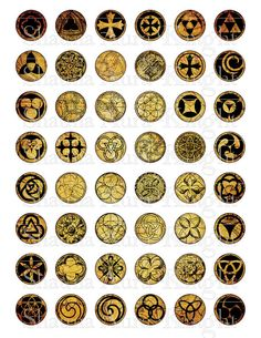 Magical Esoteric Glyphs 1 inch Tiles Circles by ShaunaAuraKnight