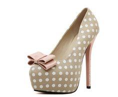 Cute Polka Dot Ribbon Pump High Heels