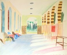 David Hockney's Luxor Hotel 1978  Sorry DH! I know you're (justifiably) protective about copyright, but this post is in tribute to your great pencil sketches.