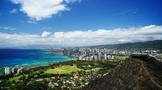 View of Waikiki from Diamond Head Crater, Honolulu, Hawaii