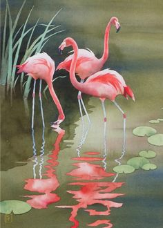 "ACEO Limited Edition Giclee Print Of Original Watercolor Painting Titled ""Flamingos"" Created, Numbered and Signed by Internationally Published Watercolorist Robert Hooper"
