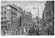 Marylebone High Street - painting by Stephen Wiltshire