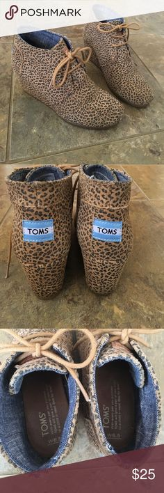 TOMS Desert Cheetah Wedge Lightly worn one-two times. Very comfortable but I never wear them. TOMS Shoes Ankle Boots & Booties