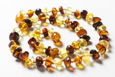 Baby Teething Necklace Polished Baltic Amber by LuxuryBalticAmber, $11.41