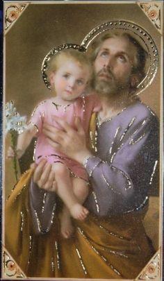 St Joseph and Baby Jeus Catholic Art, Catholic Saints, Roman Catholic, Vintage Holy Cards, Religion Catolica, Christian Images, Mary And Jesus, Jesus Pictures, Madonna And Child