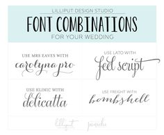 As an art director and graphic designer, I have a set of go-to combinations of typefaces that always look great together for any occasion. It's especially fun to choose font combinations for weddin...
