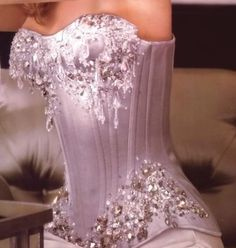 Corsets:  Pink Overbust #Corset with Sequin Detail.