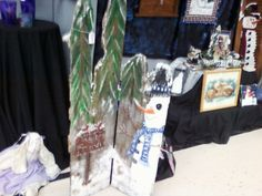 Found at a craft fair - Old Fence Board Snowman Scene