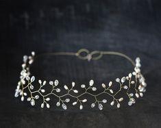 Diadema de oro, Cristal diadema, Blanco perla diadema, Diadema de novia, Tocados de novia, Diadema, Accesorios cabello Grecia diadema Tiaras