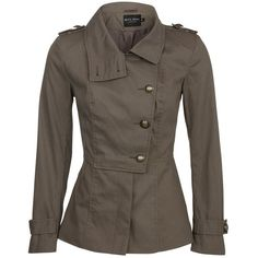 Miss Real Khaki Military Jacket ($47) ❤ liked on Polyvore