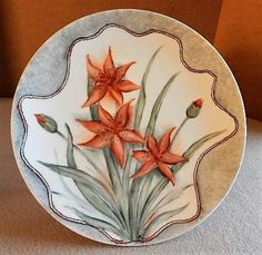 Home Studio Hand Painted 'Day Lily Blossoms' Plate