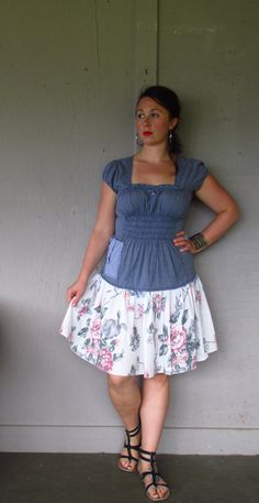 medium large Boho dress upcycled clothing / Bohemian dress / eco refashioned Peasant dress /  Artsy Hippie Gypsy dress by LillieNoraDryGoods