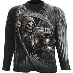 top Spiral direct chassé T-shirt tee Goth Grim reaper top Crâne biker