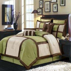 Modern Color Block Sage Green Ivory Comforter and Euro Shams Set with Decorative Pillows. Oversized bedding to fit deep mattress