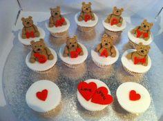Teddy bear happy birthday cupcakes
