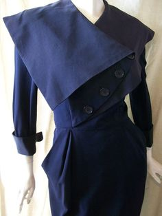 40's dress with asymmetrical collar design - dorothea's closet