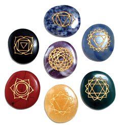 Chakra Symbols Stones on Crystal.
