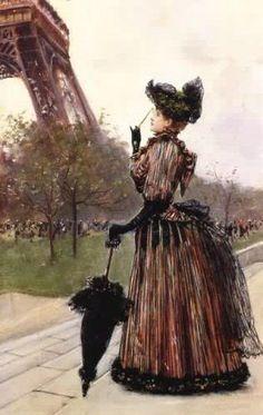 Near the Eiffel Tower by Jean Béraud (1849-1935, French)