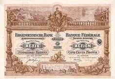 Eidgenössische Bank in Bern AG Actie 500 Fr. 3.3.1917 (Auflage 18000). Banks, Bern, Stocks And Bonds, Savings Bank, Vintage World Maps, Switzerland, Money, Auction, Safe Room