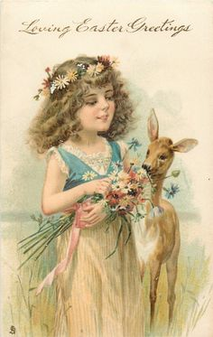 Full Sized Image: LOVING EASTER GREETINGS girl dressed in cream skirt with blue top, holding flowers, deer right - TuckDB