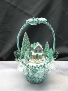 Aqua Shabby Chic Christmas Vignette with a Putz by KaysStudio