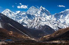 Mount Kangtega and  Mount Thamserku.    Sagarmatha National Park, Nepal
