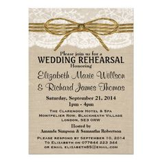Lace & Rustic Twine Bow Burlap Wedding Rehearsal Personalized Invitations