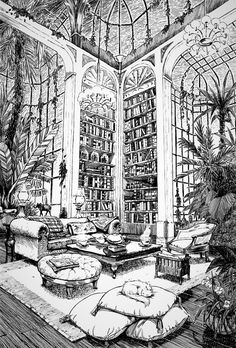 Image about cute in Monochrome art by Wendy on We Heart It Drawing Sketches, Art Drawings, Architecture Drawing Art, Perspective Drawing, Point Perspective, Interior Sketch, Environment Design, Pen Art, Art Reference