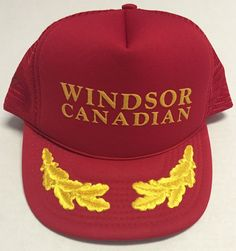 Vtg Windsor Canadian Trucker Hat Scrambled Eggs Red Alcohol Whisky #Cobra #Trucker