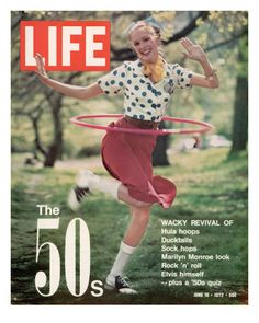 Hula Hoops in the 50's were so much fun ! !  Kids would bring them to school and I learned how to do it.  When I finally got mine, the school decided kids couldn't bring them anymore.