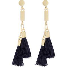 Chloe Tasseled earrings ($250) ❤ liked on Polyvore featuring jewelry, earrings, bohemian jewelry, navy jewelry, tassel earrings, bohemian style earrings and tassle earrings