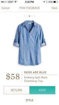 Split back denim top. Stitch Fix Fashions.